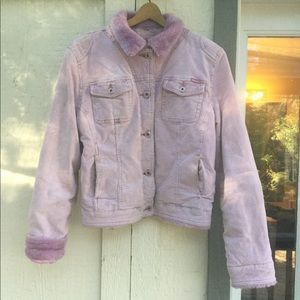 Early 2000's Pink Faux Fur Corduroy Jacket